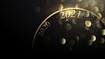 2021 Happy New Year. Clock counting last moments before Christmas. Countdown. Vector illustration