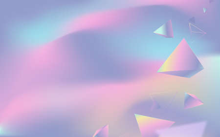 Abstract colorful gradient 3d polygon on the fluid background. Vector illustration