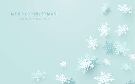 Modern abstract Christmas snowflakes on pastel blue background. Vector illustration