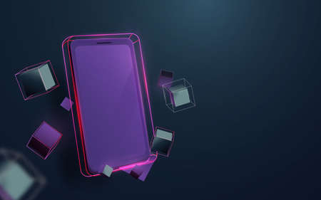 Realistic smartphone with Abstract geometric and technology futuristic concept. 3d Vector illustration 向量圖像
