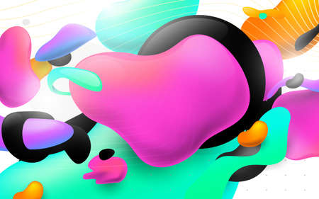 Colorful flowing liquid shapes. Abstract geometric design elements. 3d Vector illustration