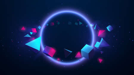 Abstract geometric shape floating around circle light and technology futuristic concept. 3d Vector illustration