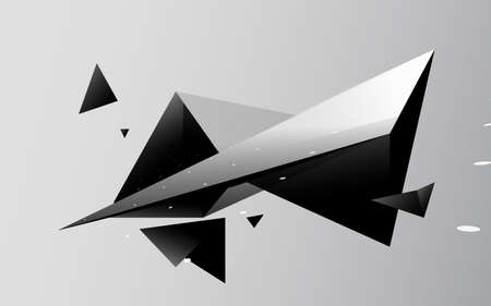 Abstract black triangles futuristic technology background. 3d Vector illustration 向量圖像