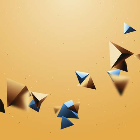 Abstract gold and blue luxury 3d triangle shape chaotic background. Vector illustration