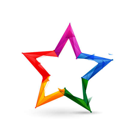 Colorful Star icon. Low poly model design. 3d Vector illustration