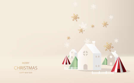 Winter season with Countryside landscape village. Paper art of Merry Christmas. Greeting card, template, vector, and illustration