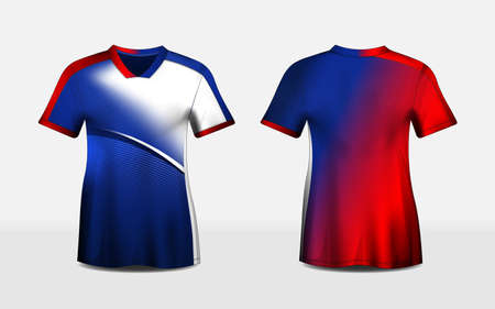 Blue, red, and white layout e-sport t-shirt pattern design template, vector