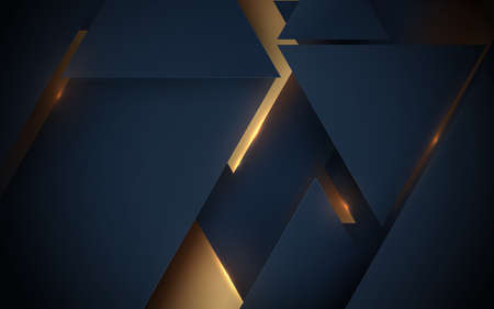 Abstract dark blue and gold geometric luxury and technology background. Vector illustration 向量圖像
