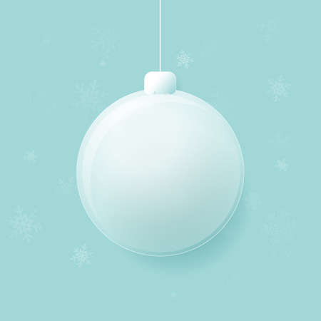 Merry Christmas glass ball with Snowflakes on blue background. Vector illustration