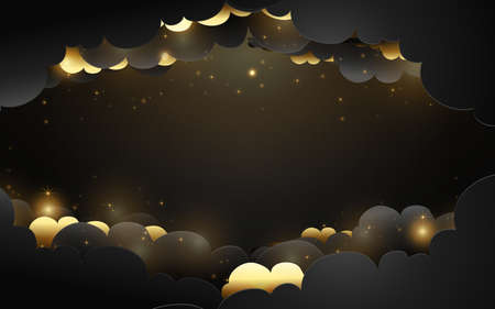Luxury Black and gold cloud background. Vector illustration