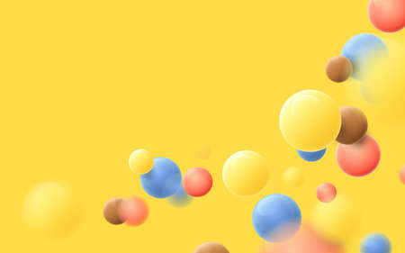 Abstract multicolored balls flying particles on a yellow background. Vector illustration 向量圖像