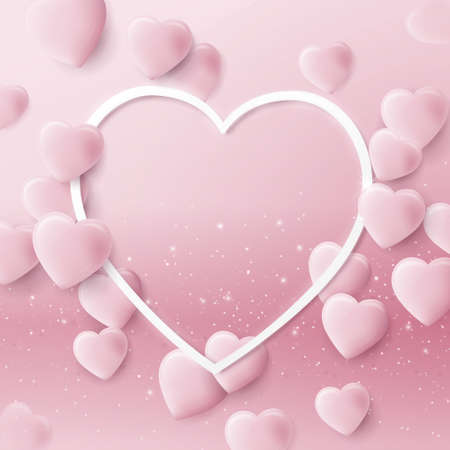 Valentines Day background with 3d pink hearts and frame. Wedding design elements. Vector illustration 向量圖像
