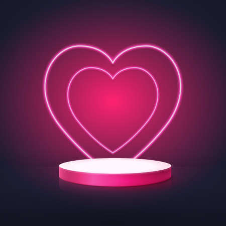 3D white and pink circle shape podium display with Neon hearts. Valentines banner for Wedding greeting card. Space for your design. Vector Illustration