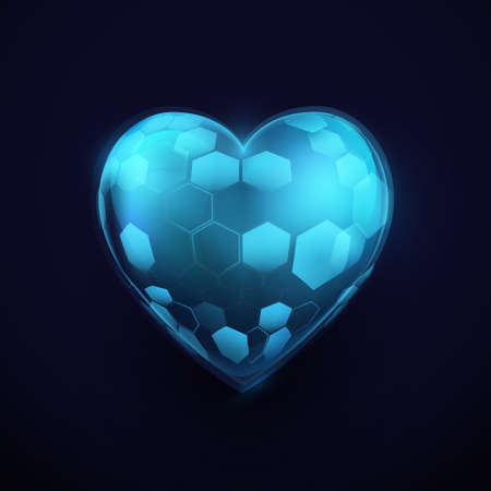 Abstract heart sign with Healthcare technology concept. Vector illustration