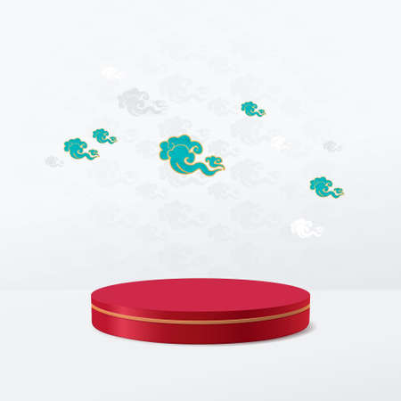 3D red and gold circle shape podium display with vintage Chinese clouds background. Chinese new year banner or greeting card. Vector Illustration 向量圖像