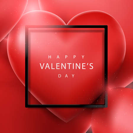 Valentines Day and Wedding background. 3d red heart balloon floating and Black frame. Vector illustration