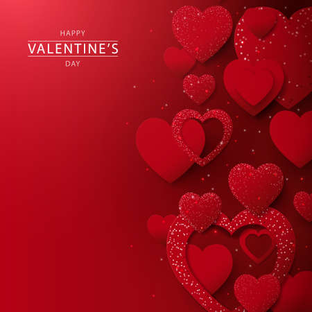 Abstract red hearts glitter lights background. Valentines banner for Wedding greeting card. Vector illustration