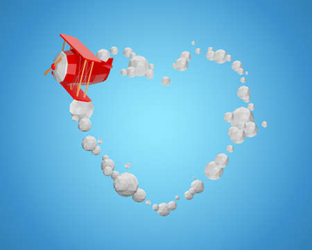 Valentines day. Paper plane flying with heart clouds shape. Paper art concept. Vector illustration