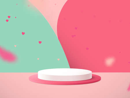 Minimal podium with Heart confetti falling and abstract background. Valentines day. 3d vector illustration 向量圖像