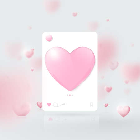 3d Mockup of Social media interface. Social network photo frame template. Valentines day. Vector illustration 向量圖像