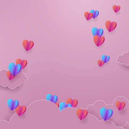 Valentines day with heart balloons flying and clouds. Paper cut style. Vector illustration