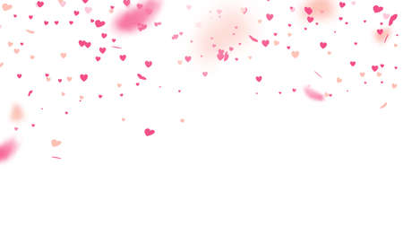 Valentines day with Heart confetti falling on white background. Vector illustration