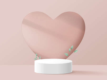White podium with the Heart wall. Valentines day. Minimal design. 3d vector illustration
