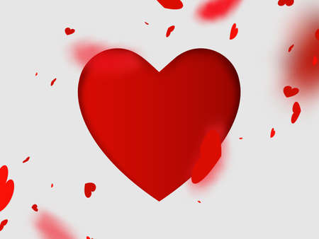 Valentines day with Heart confetti falling and Big heart paper on white background. Vector illustration