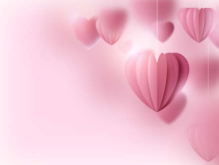 Valentines day. Pink hearts and clouds are holding sting on a soft pink background. Vector illustration