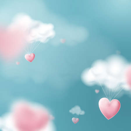 Valentines day with heart balloons flying and clouds. Vector illustration Ilustracja