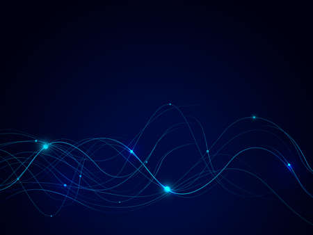 Abstract connecting lines and dots on dark background. Technology connection futuristic concept. Vector illustration