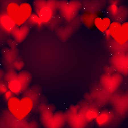 Abstract red hearts bokeh glitter lights background. defocused. Valentines love banner for Wedding greeting card. Vector illustration