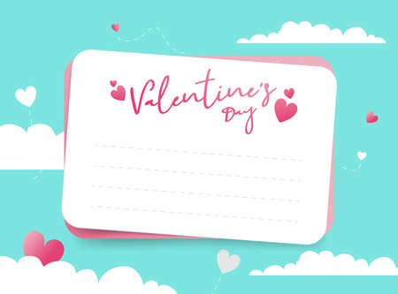 Valentines day with cut letter paper on blue and white clouds sky. Vector illustration Vectores