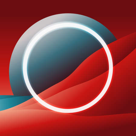 Abstract red mountain and sand with blue moon and sea. Light circle. Minimal art. Technology cyber. Vector illustration 向量圖像