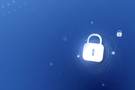 Padlock security icons. Digital data protection, Internet cybersecurity,  protection technology hi-tech background. Vector illustration