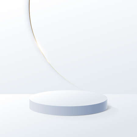 White geometric podium and Gold luxury trim background with Minimal design. 3d vector illustration Illustration