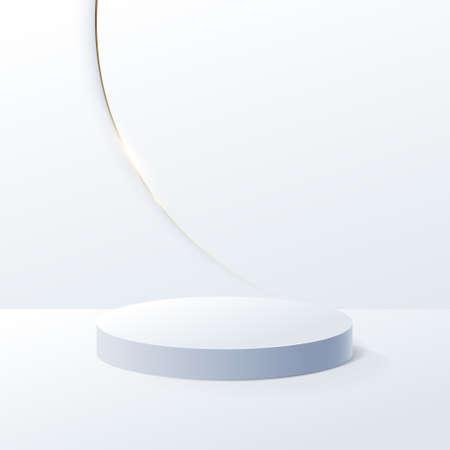 White geometric podium and Gold luxury trim background with Minimal design. 3d vector illustration Ilustracja
