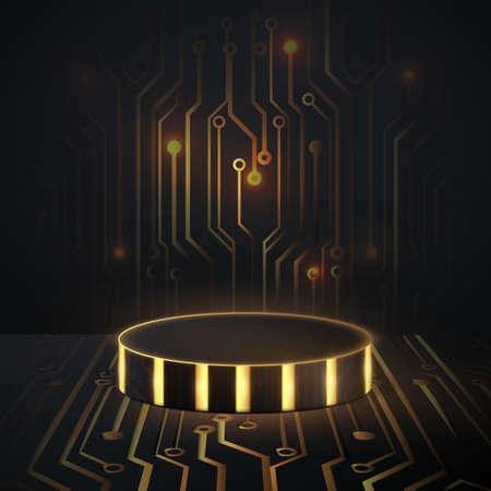 Black and gold trim geometric podium with Circuit board technology digital hi tech background. 3d vector illustration Ilustracja