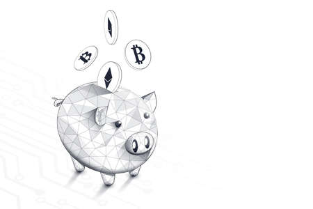Piggy bank and Cryptocurrency coins on Circuit board technology concept. Lines, triangles, and particle style design. Vector illustration