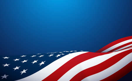 American flag waving on blue background. Vector illustration Ilustracja