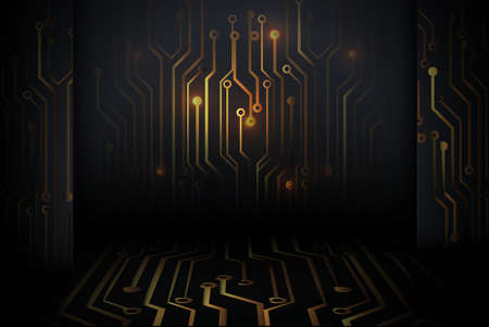 Abstract gold Circuit board technology digital hi tech on black wall background. 3d vector illustration
