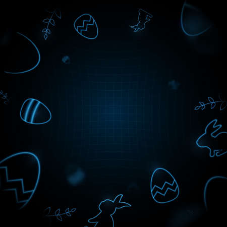 Little bunny with decorated Easter eggs. Futuristic technology concept in dark and blue light. Vector illustration 矢量图像