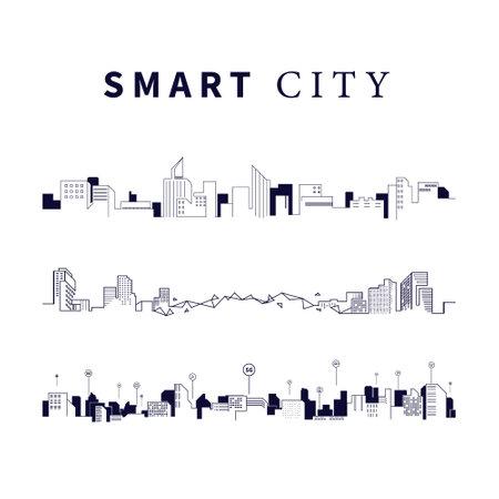 Smart city technology. Futuristic technology. Vector Simple, Minimal,  Outline illustration
