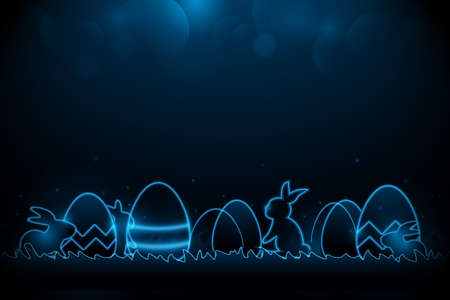 Little bunny with decorated Easter eggs on the grass. Futuristic technology concept in dark and blue light. Vector illustration 矢量图像