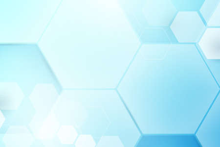 Abstract soft blue hexagons geometric shape technology digital hi tech concept background. Space for your text
