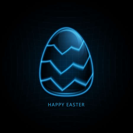 Easter eggs on Futuristic technology concept in dark and blue light. Vector illustration 矢量图像