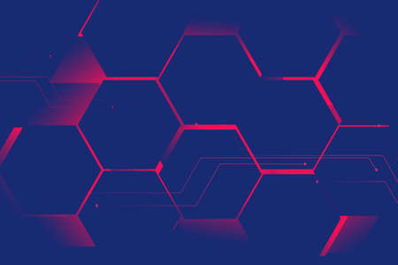 Abstract blue hexagons with pink light, Futuristic technology digital hi tech concept background. Space for your text. Vector illustration