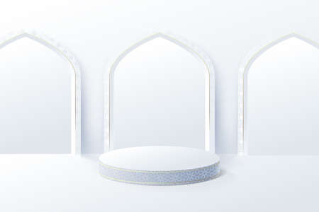 White product display mock up with Islamic interior mosque door. 3d podium. Ramadan, eid fitr adha, mawlid concept. Vector illustration