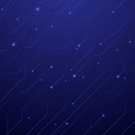 Abstract circuit board technology digital hi tech on dark blue background. 3d vector illustration