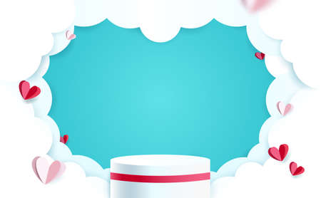 White product display mock up with cloudy sky and Heart paper shape. 3d podium. Vector illustration 矢量图像